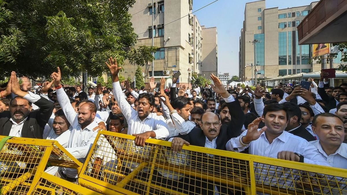 Lawyers protest at Saket District court in South Delhi.