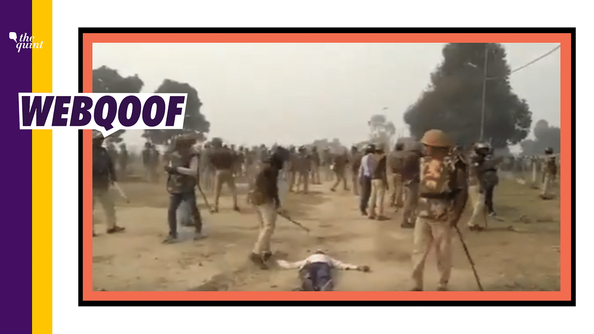 Trimmed Clip Shared to Claim Unnao Cop Thrashed Unconscious Farmer