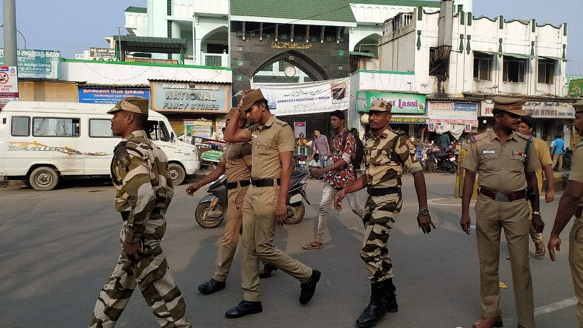 Heavy police deployment in the Muslim-populated area of Triplicane in Chennai.