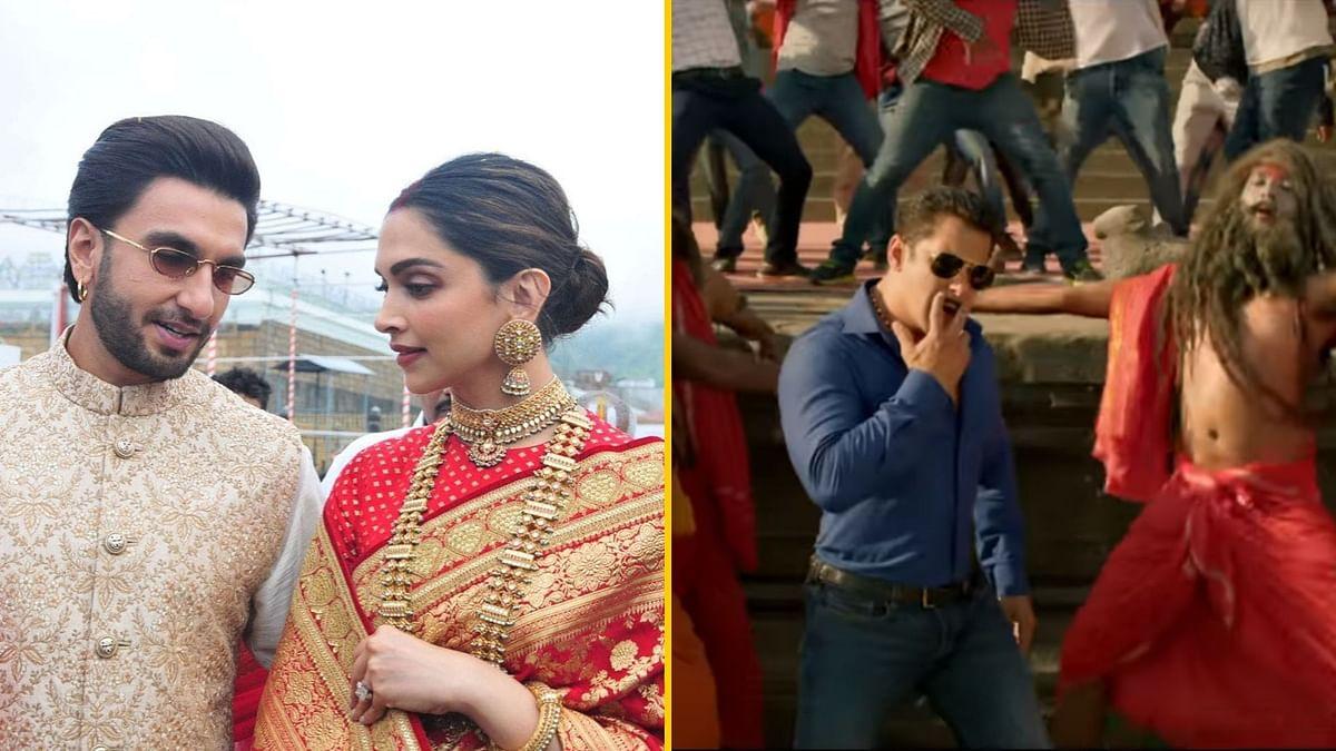 Deepika Padukone and Ranveer Singh at Tirupati; a still from<i> Dabangg 3</i>.