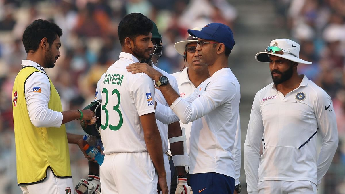 Nayeem Hasan of Bangladesh being checked during day 1 of the 2nd Test match between India and Bangladesh held at the Eden Gardens Stadium, Kolkata on the 22 November 2019.