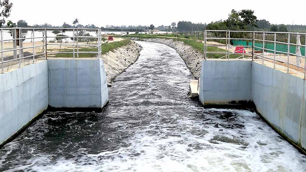 Laxmisagar lake where treated domestic sewage water from Bengaluru first enters Kolar, to eventually fill 126 lakes and improve groundwater levels. The project envisages transferring 440 million litres a day under the Rs 1,342 crore Koramangala-Challaghatta Valley project.