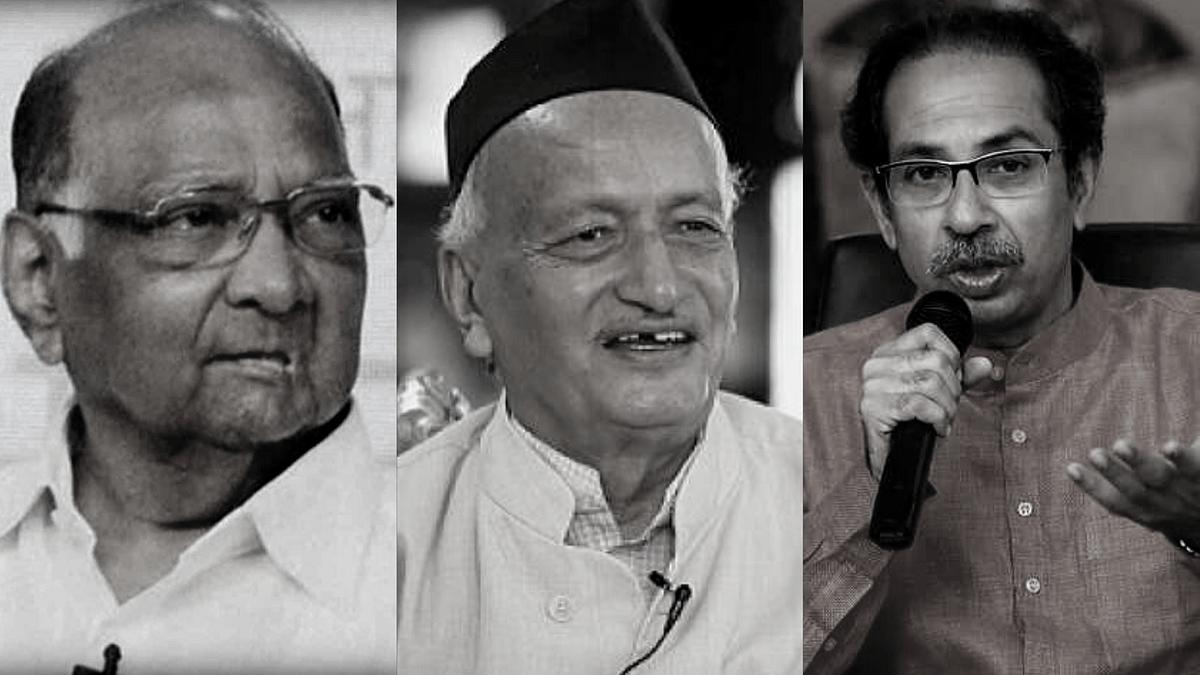 (Left to Right) NCP Chief Sharad Pawar, GovernorBhagat Singh Koshyari & Shiv Sena Chief Uddhav Thackeray.