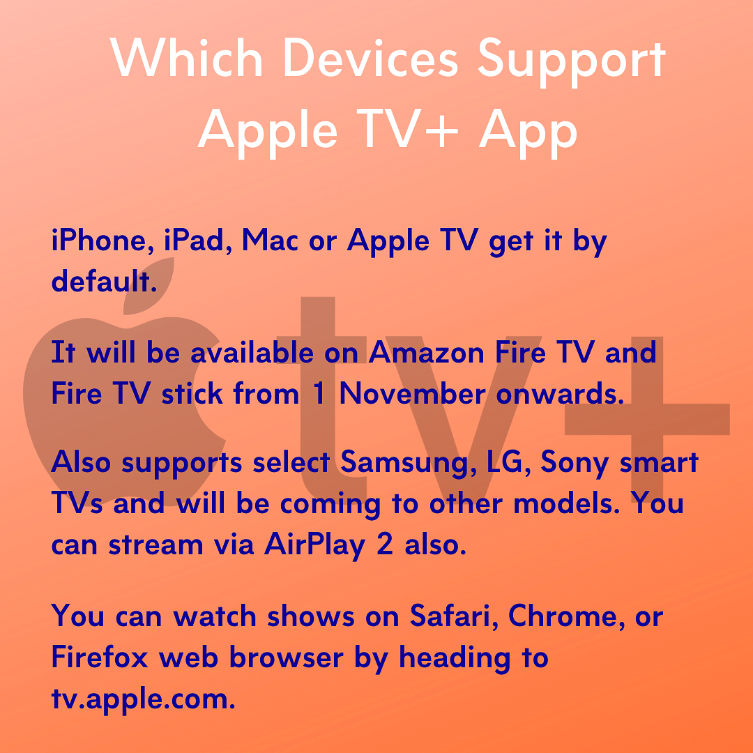 Apple TV+ app can be used on Amazon Fire TV.