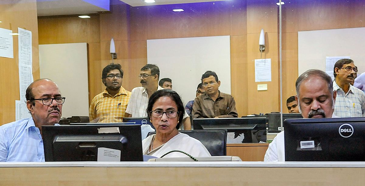 West Bengal Chief Minister Mamata Banerjee at Nabanna (State Secretariat) Control room monitoring the movement of the cyclone on Saturday.