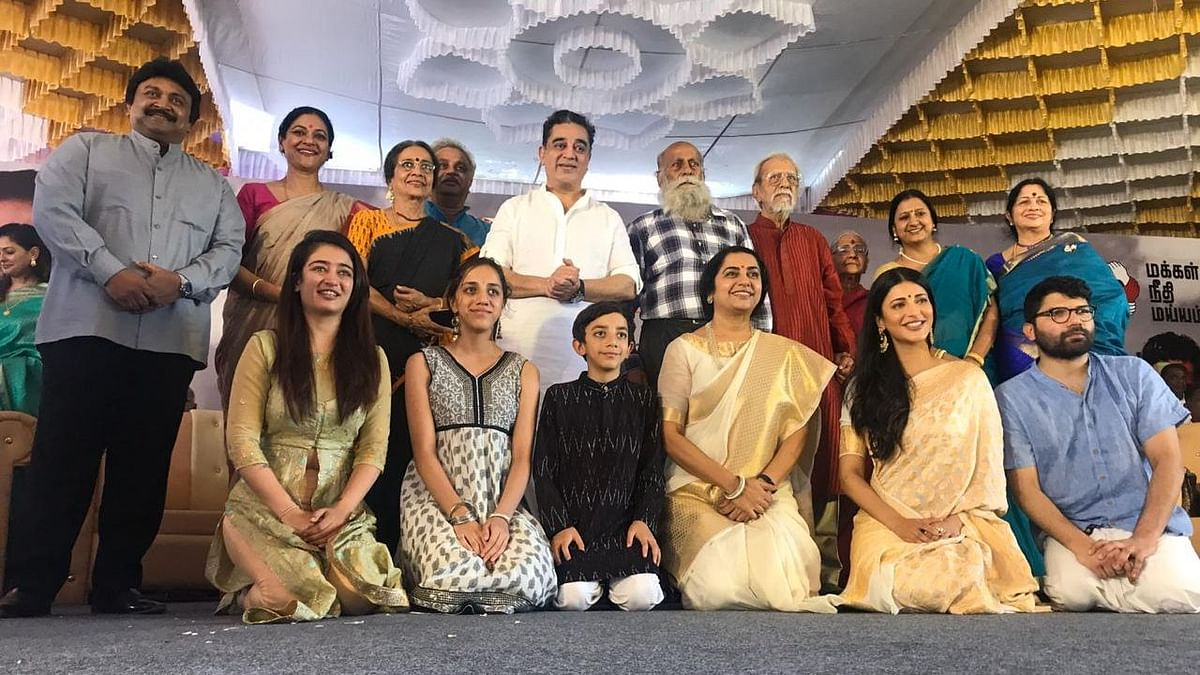 Kamal Haasan with his family at the unveiling of a statue of his father.