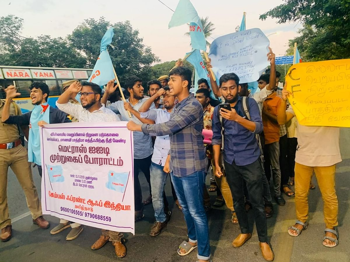 Students belonging to the Campus Front of India (CFI) conducted a protest outside the gates of IIT Madras, on Wednesday evening demanding justice for Fathima Latheef.