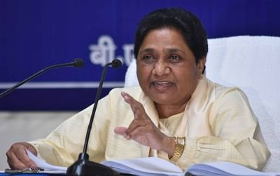 Lucknow: BSP supremo Mayawati addresses a press conference in Lucknow on April 15, 2019. (Photo: IANS)