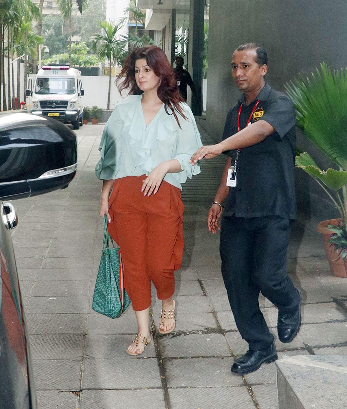 Twinkle Khanna leaves the hospital.