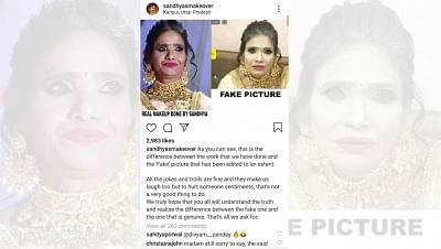 The recent viral photograph of internet singing sensation Ranu Mondal, which showed her wearing ghastly white makeup, is fake, claims the salon that styled the singer.