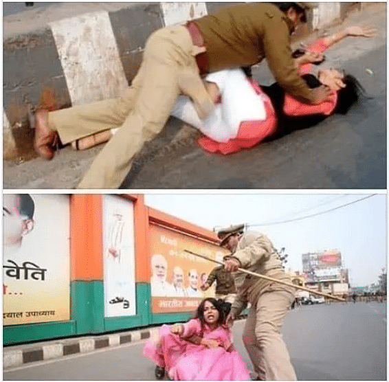 Congress youth worker thrashed by the police during the Unnao rape protest.