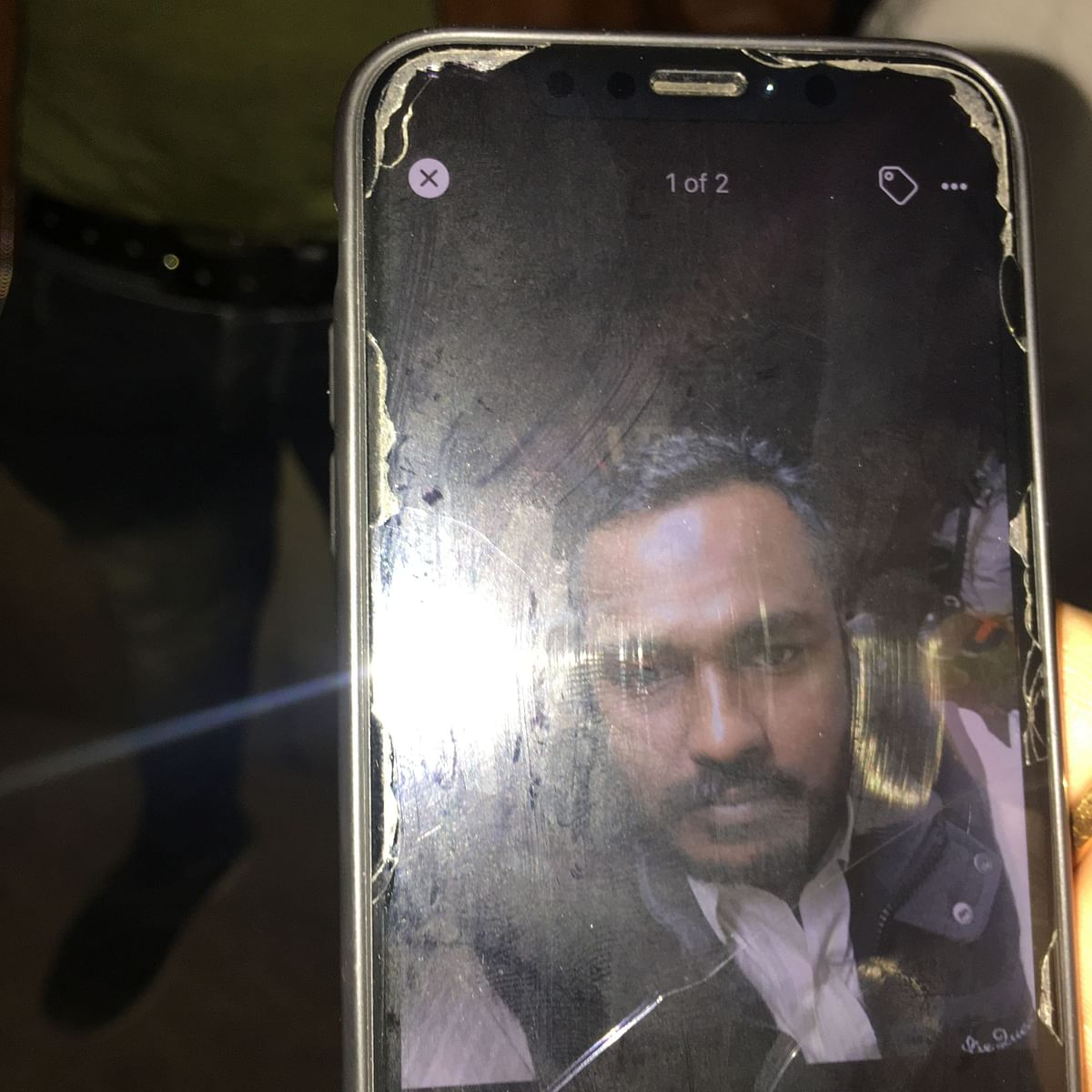 A relative showing photo of 37-year-old Imran from Moradabad who was killed in the Anaj Mandi fire accident on 8 December 2019.
