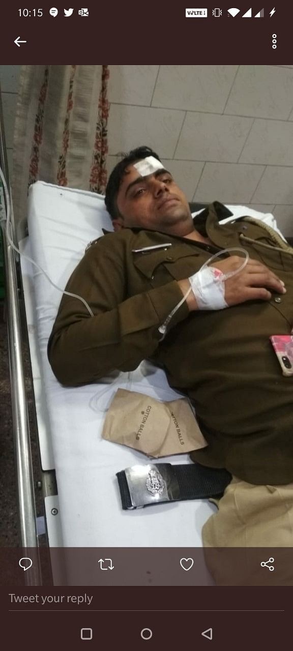 12 Delhi Police personnel suffered injuries and two are said to be in the ICU.