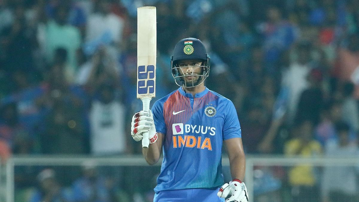 Shivam Dube raises his bat after scoring a fifty during the second T20I match against the West Indies held at the Greenfield Stadium, Thiruvananthapuram.