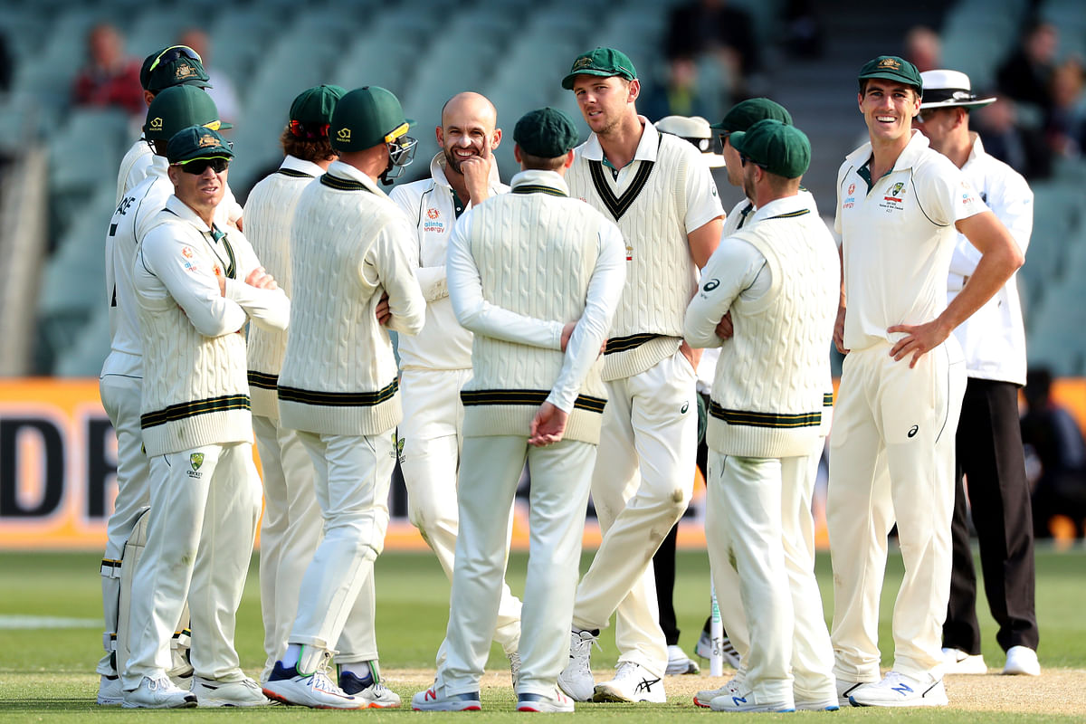 Australia's Nathan Lyon celebrates the wicket of Pakistan's Yasir Shah during their cricket Test match in Adelaide.