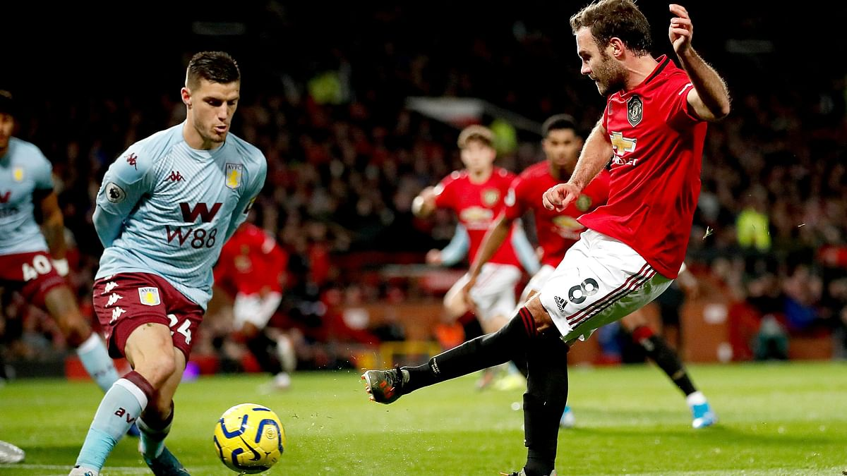 Manchester United's Juan Mata in action during the English Premier League match against Aston Villa at Old Trafford, Manchester, England.