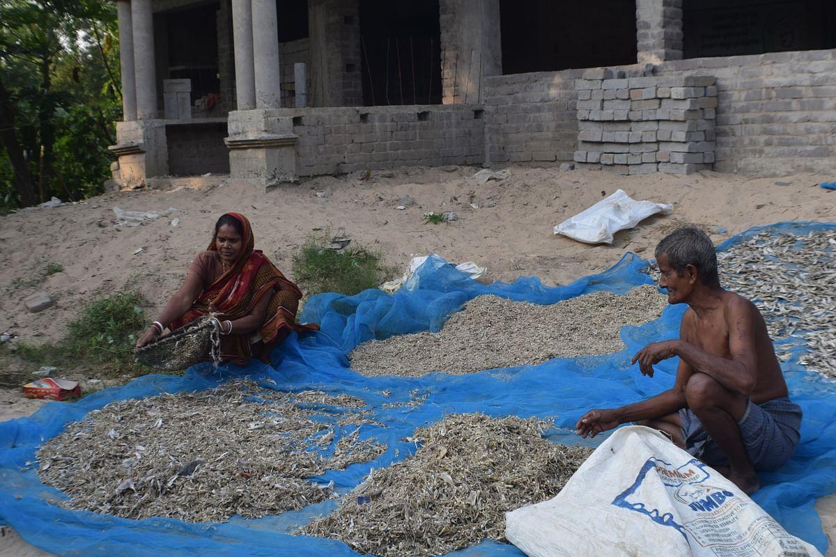 Satadala Giri and Sudhir Chandra Giri pack the dry fish produced by them.
