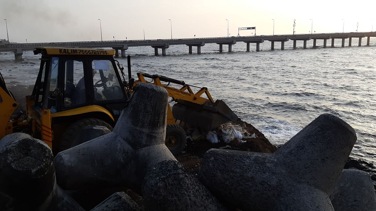 Construction work for the Coastal Road underway at the Worli sea face.