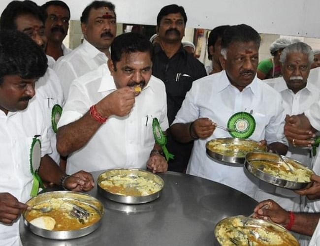 Tamil Nadu's Chief Minister & Deputy Chief Minister having lunch at Amma Unavagam
