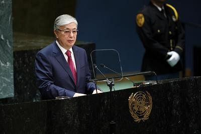 UNITED NATIONS, Sept. 25, 2019 (Xinhua) -- Kazakh President Kassym-Jomart Tokayev addresses the General Debate of the 74th session of the UN General Assembly at the UN headquarters in New York, Sept. 24, 2019. World leaders attending the ongoing General Debate of the 74th session of the United Nations General Assembly (UNGA 74) on Tuesday voiced strong support for multilateralism and called for international cooperation to tackle common threats and challenges together. (Xinhua/Li Muzi/IANS)