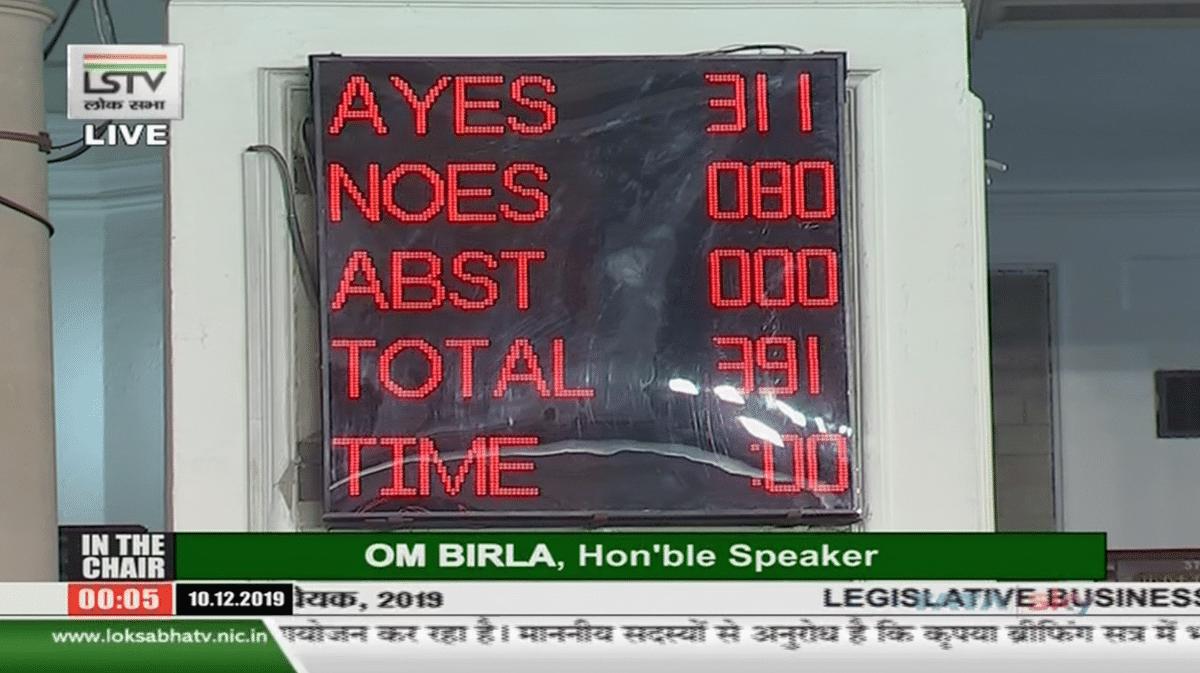 Amid Protests,  Citizenship (Amendment) Bill Gets 311 'Ayes' in LS