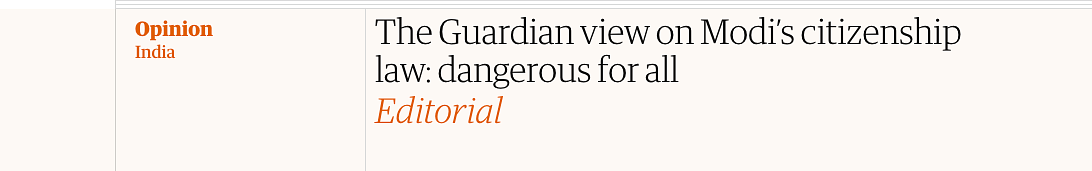 Screenshot of The Guardian article on India's CAA