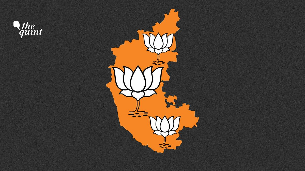 Image of Karnataka map and BJP symbol used for representational purposes.