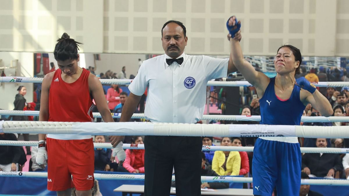There had been a lot of controversy surrounding the bout but MC Mary Kom (right) put everything to rest as she beat Nikhat Zareen on Saturday.