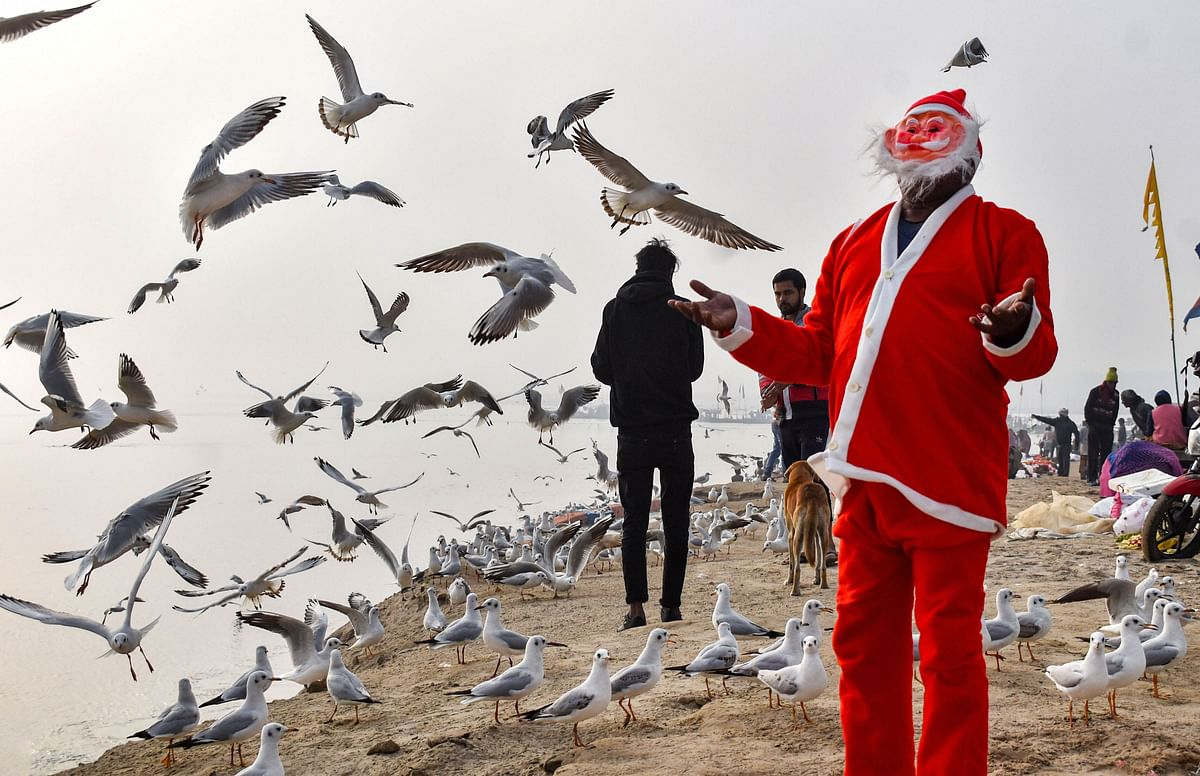 A man dressed like Santa Claus feeds gulls at Sangam on Christmas, in Prayagraj on Wednesday. 25 December.