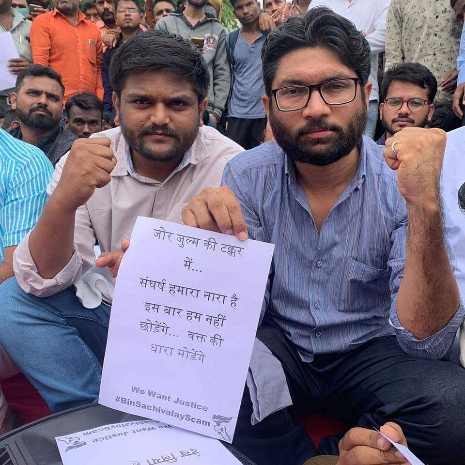 Politicians Hardik Patel and Jignesh Mevani at the protest.