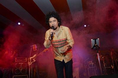 Guwahati: Singer Angaraag Mahanta performs during a programme organised to celebrate Rongali Bihu in Guwahati. (Photo: IANS)