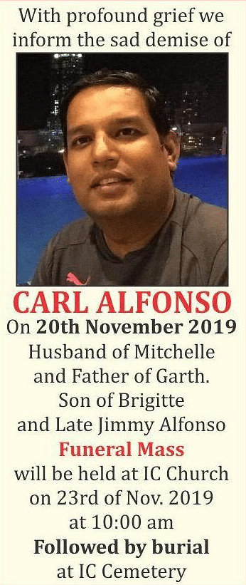 Bereavement note for Carl Alfonso.