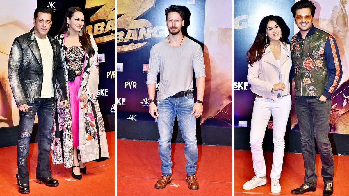 Pics: Salman, Tiger, Sonakshi, Riteish Attend Dabangg 3 Screening