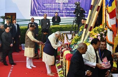 New Delhi: Prime Minister Narendra Modi pays tributes to Dr B.R. Ambedkar on his 64th death anniversary commemorated as Mahaparinirvan Diwas, at Parliament House in New Delhi on Dec 6, 2019. Also seen President Ram Nath Kovind, Vice President M. Venkaiah Naidu, Lok Sabha Speaker Om Birla and BJP National Working President J.P. Nadda. (Photo: IANS)