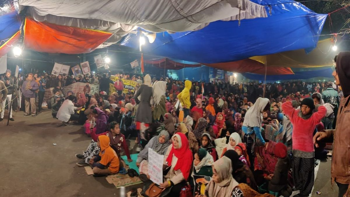 Protesters at Shaheen Bagh in Delhi.