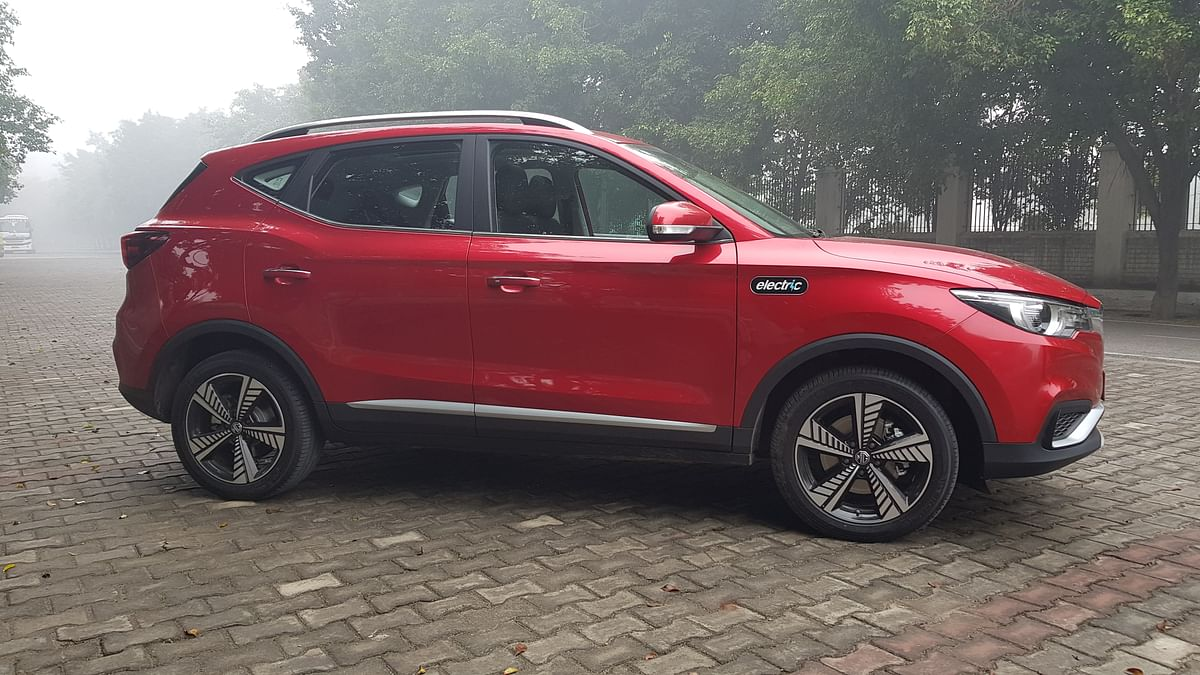 """The MG ZS EV has a large """"electric"""" badge on its fenders."""