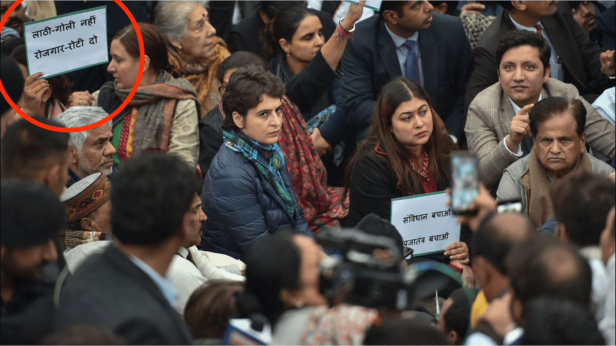Congress leader Priyanka Gandhi Vadra holds a sit-in protest at the India Gate.