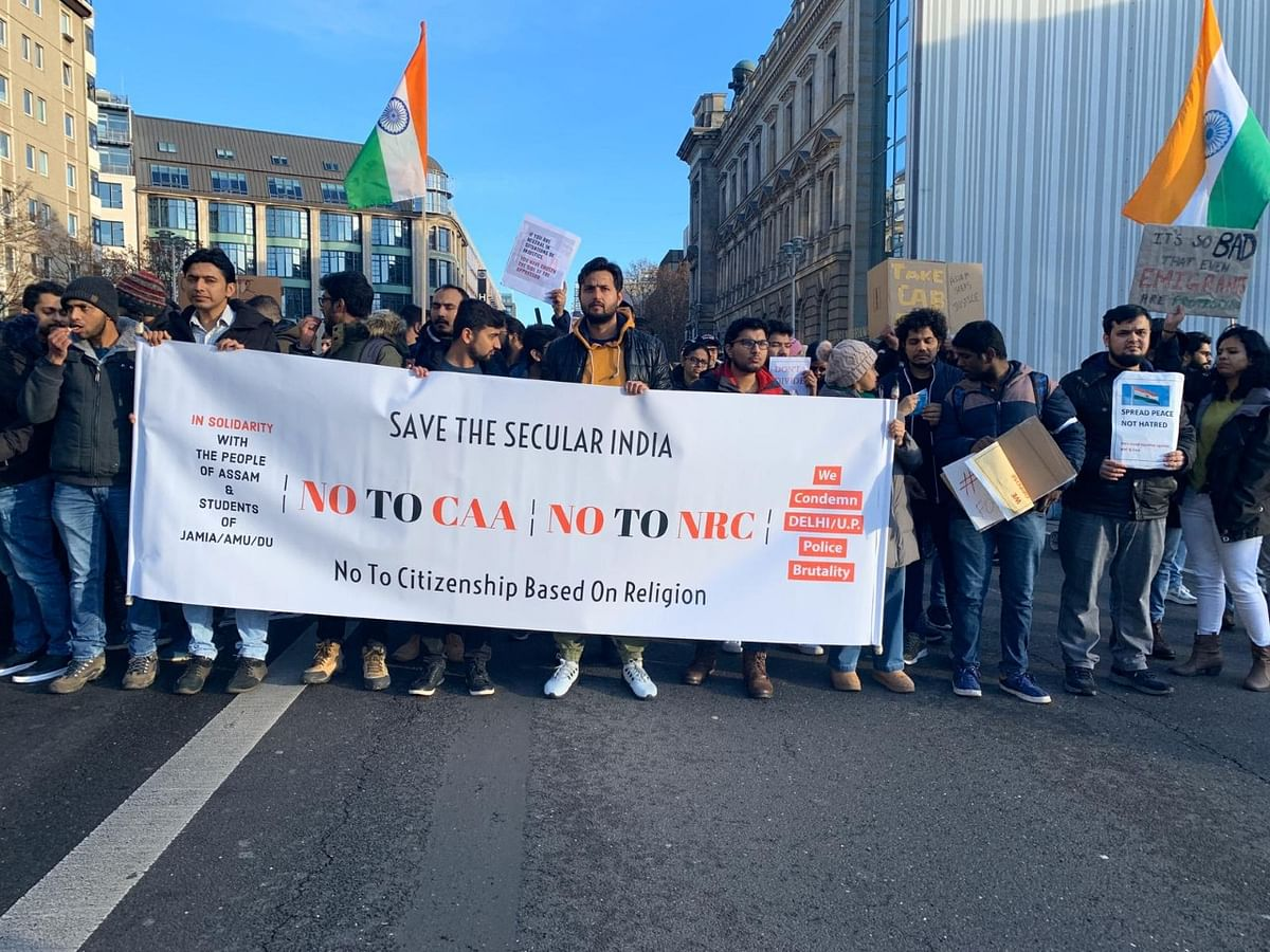 Anti CAA protests organised by students in Berlin.