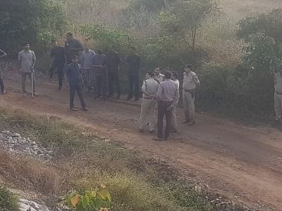 Hyderabad: Police personnel present at the site where they shot dead all the four accused in gang rape and murder of a young veterinarian in Hyderabad, in an alleged