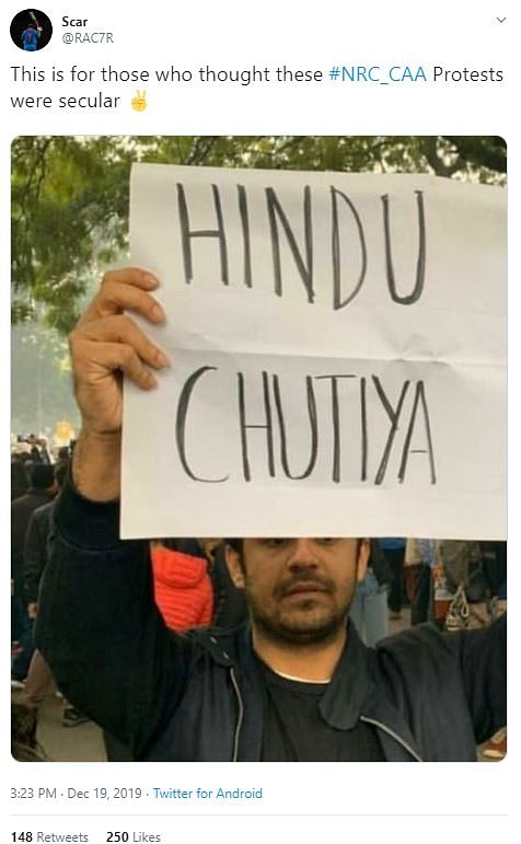 Edited Photo Abusing Hindus Shared to Discredit CAA Protests