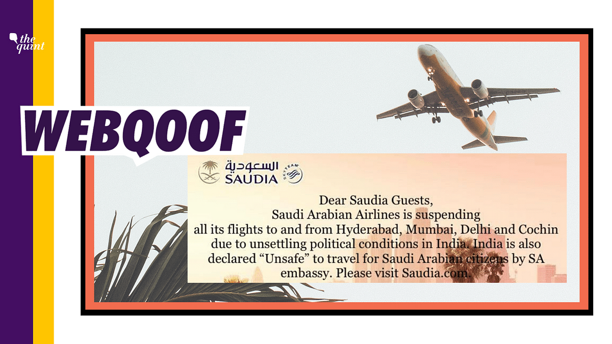 No, Saudi Arabian Airlines Did Not Suspend its Flights to India