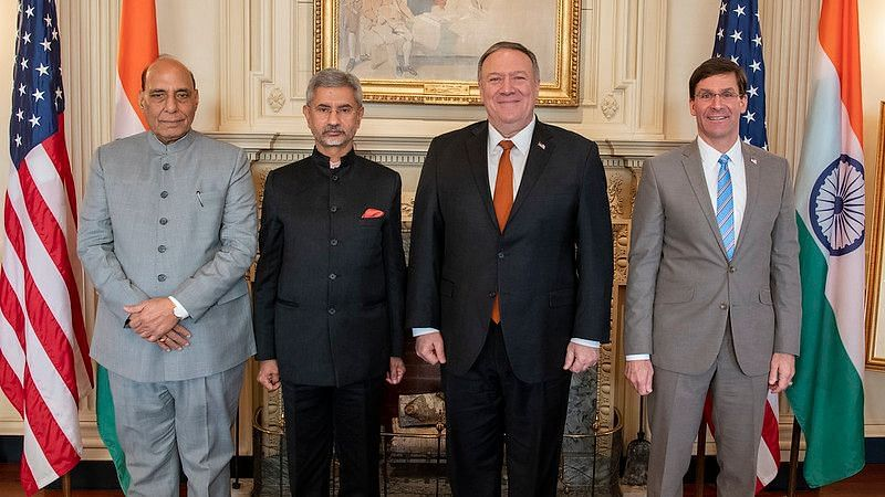 (From left to Right) Defence Minister Rajnath Singh, External Affairs Minister S Jaishankar, US Secretary of State Mike Pompeo & Defense Secretary Mark Esper.