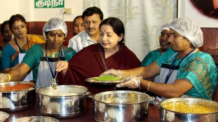 J Jaylalithaa with Amma unavagam workers