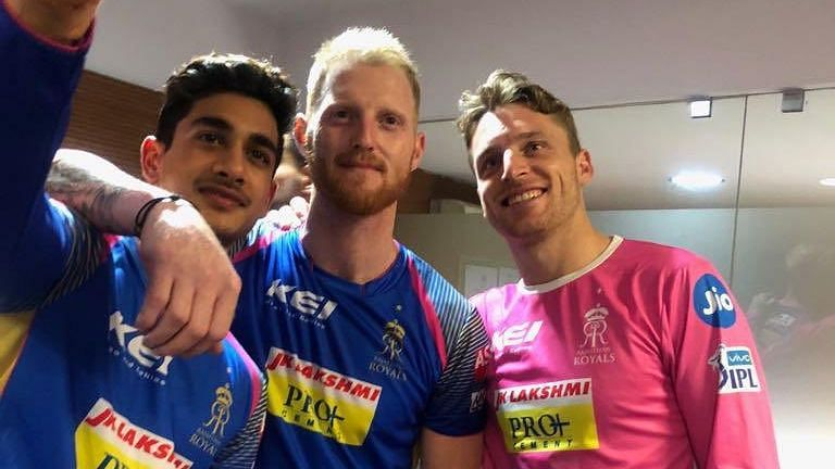Former Rajasthan Royals cricketer Aryaman Birla with Ben Stokes and Jos Buttler.