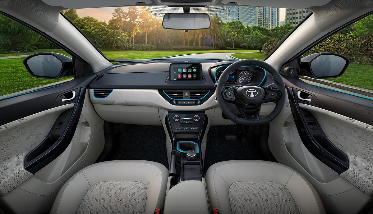 The interiors of the Tata Nexon EV.