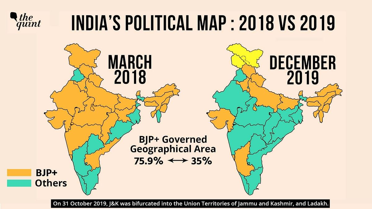 The BJP now rules in only 35 percent of India, as compared to its 75 percent share in March 2018 (area-wise).