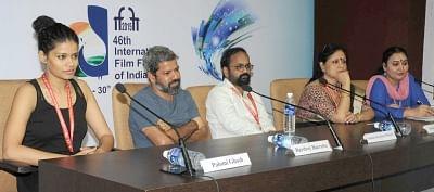 Panaji: The Director of 'ONYO OPALAA' Satarupa Sanyal, the Director of 'NACHOM-IA KUMPASAR' Bardroy Barretto, the Director of 'KOTI', Suhaas Surykant Bhosale and actress Palomi Ghosh addresses a press conference, at the 46th International Film Festival of India (IFFI-2015), in Panaji, Goa on Nov 23, 2015. (Photo: IANS/PIB)