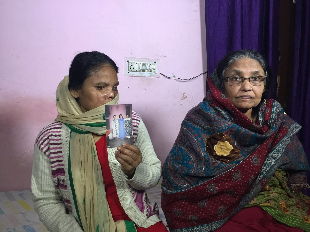 Shamima with her mother, Salia Mirza at their home in Delhi's Vinod Nagar.
