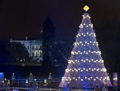 WASHINGTON D.C., Dec. 7, 2013 (Xinhua/IANS) -- The National Christmas Tree is lighted during a ceremony on the Ellipse south of the White House in Washington D.C., capital of the United States, Dec. 6, 2013. The lighting of the tree is an annual tradition attended by the president and the first family started in 1923. (Xinhua/Zhang Jun)