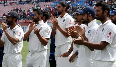 Dharamsala: Indian cricketers after winning the Test match series between India and Australia at Himachal Pradesh Cricket Association Stadium in Dharamsala on March 28, 2017. (Photo: Surjeet Yadav/IANS)